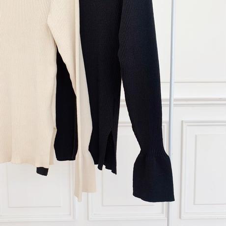 bell sleeve rib knit