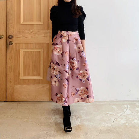 MADE' flower tuck skirt / pink