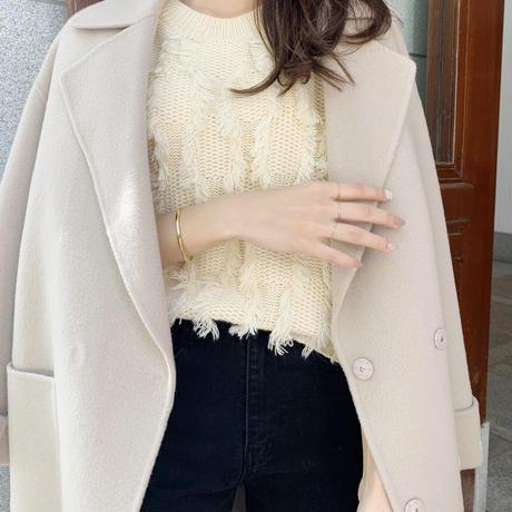 Handmade double wool coat / cream beige