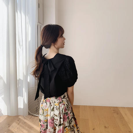 pintuck ribbon blouse