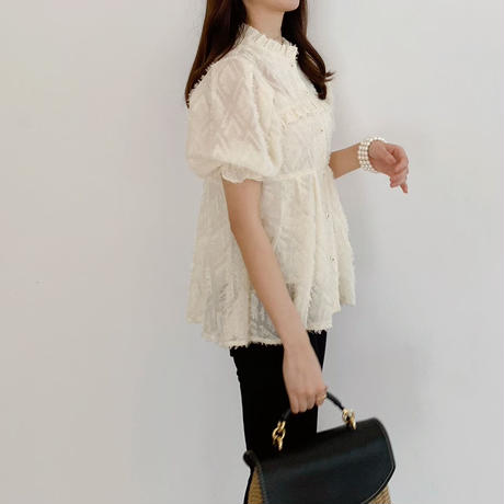 fringe frill gather blouse