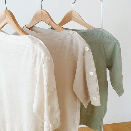 linen button knit