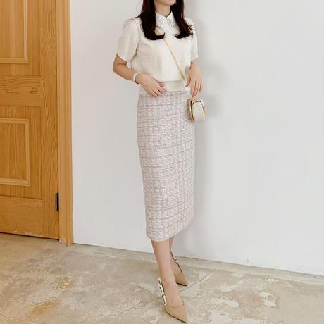 mix tweed tight skirt
