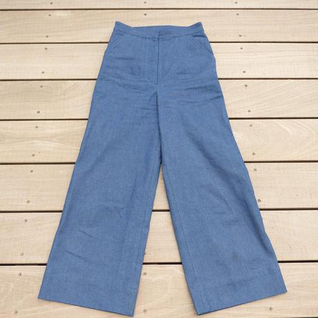 wide denim pants【blue】