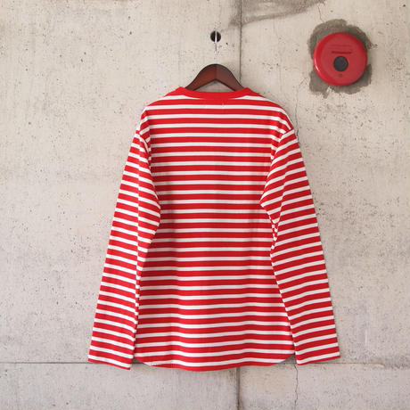 【unisex】Drole & FUN〈ドロールアンドファン〉 NARROW BORDER CREW NECK TEE RED×WHITE
