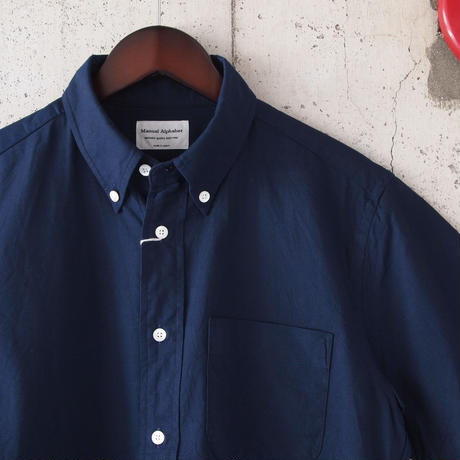 Manual Alphabet〈マニュアルアルファベット〉 CHAMBRAY OX BASIC BD SHIRT NAVY
