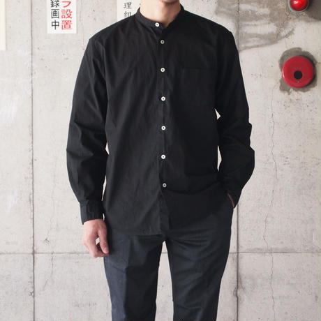 Manual Alphabet〈マニュアルアルファベット〉 LOOSE FIT BAND COLLAR SHIRT  BLACK