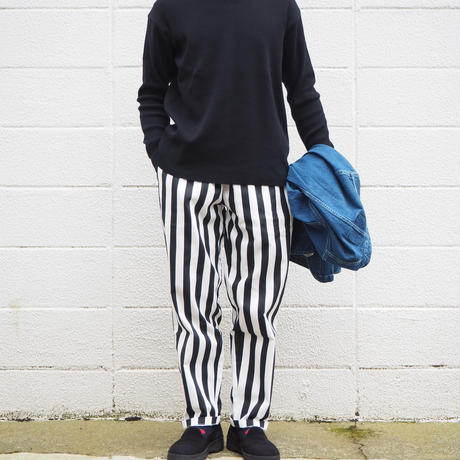 【unisex】COOKMAN〈クックマン〉 CHEF PANTS WIDE STRIPE BLACK
