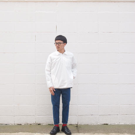 Manual Alphabet〈マニュアルアルファベット〉 PRODUCT DYE LONG SLEEVE POLO WHITE