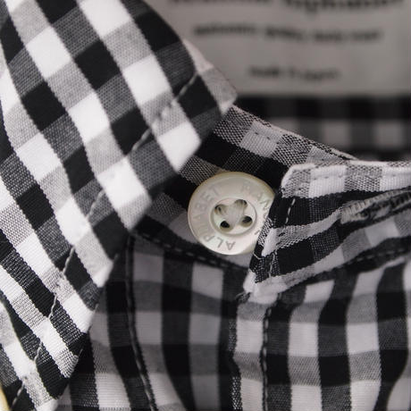 Manual Alphabet〈マニュアルアルファベット〉 GINGHAM CHECK BASIC BD SHIRT BLACK