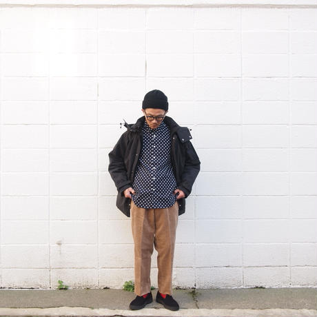 【別注】Manual Alphabet〈マニュアルアルファベット〉 LOOSE FIT REGULAR COLLAR DOT SHIRT NAVY