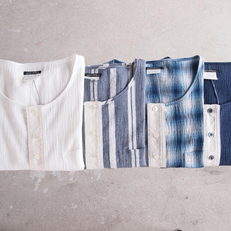 SUNNY SPORTS 〈サニースポーツ〉 3B HENLEY NECK SHIRT CHECK