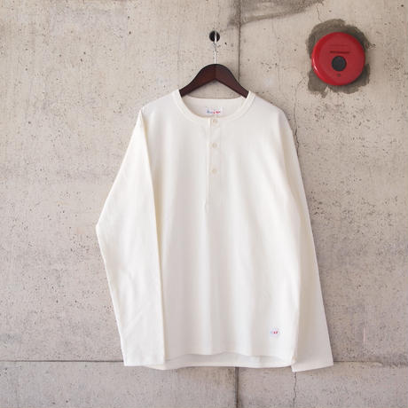 【unisex】Drole & FUN〈ドロールアンドファン〉FRENCH HENLEY NECK TEE WHITE
