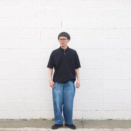 Manual Alphabet〈マニュアルアルファベット〉SURF KNIT POLO BLACK