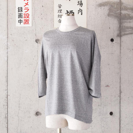 【women】a piece of Library〈ピースオブライブラリー〉 リヨセルフランセットTee (No.216110) GREY/OFF