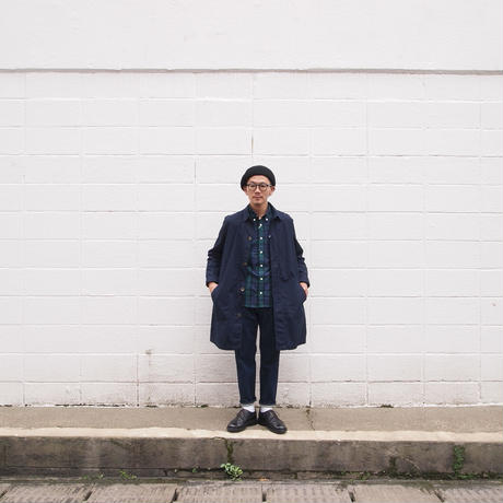 【unisex】Manual Alphabet〈マニュアルアルファベット〉 TYPEWRITER SHIRT COAT  NAVY