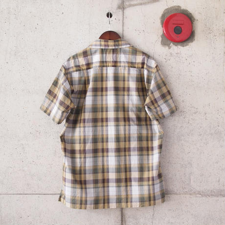 Manual Alphabet〈マニュアルアルファベット〉 CHECK OPEN COLLAR SHIRT BEIGE