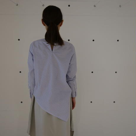 【women】HAOLU〈ハオル〉 ASYMMETRY BLOUSE STRIPE