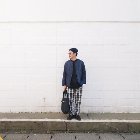 Manual Alphabet〈マニュアルアルファベット〉 WORKADY CHECK TROUSERS WHITE×NAVY