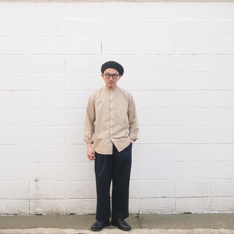 Manual Alphabet〈マニュアルアルファベット〉LOOSE FIT BAND COLLAR SHIRT  BEIGE