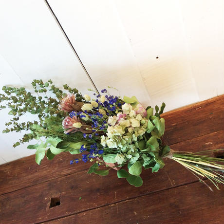 《WEDDING ♡》ブーケ・ブートニア2点セット(グリーン&ブルー)