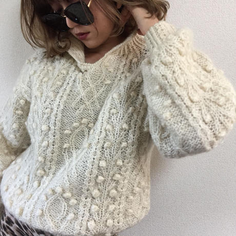 cable knit milk tea beige