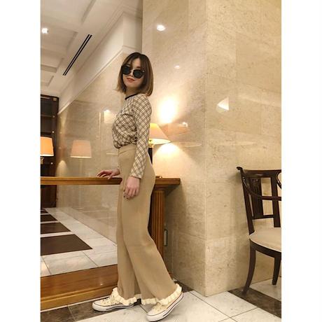 rib knit frill pants beige