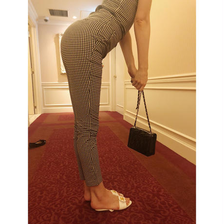 gingham check fit pants