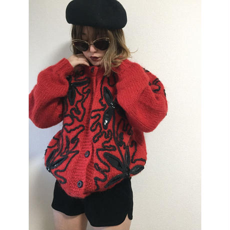code flower design knit cardigan red
