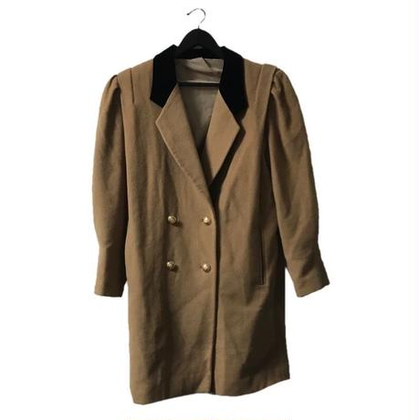 velours collar arm volume coat camel