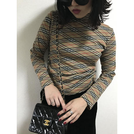Burberry check high neck knit