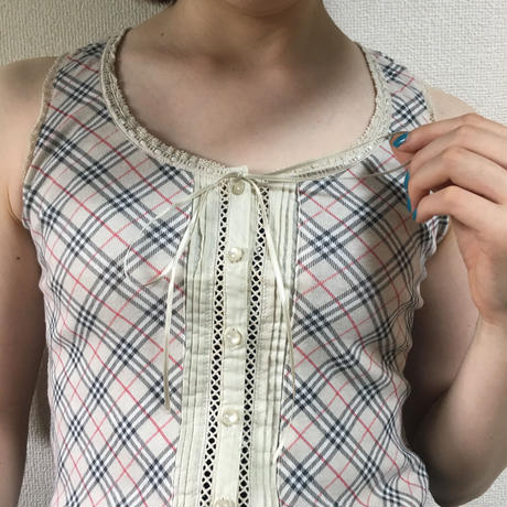Burberry check lace ribbon tops