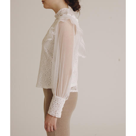 arm see-through lace blouse white