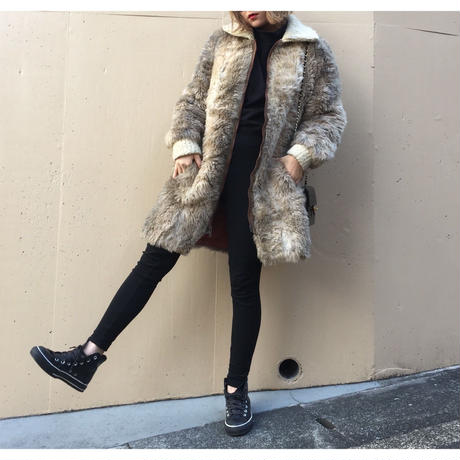 knit design fur coat beige