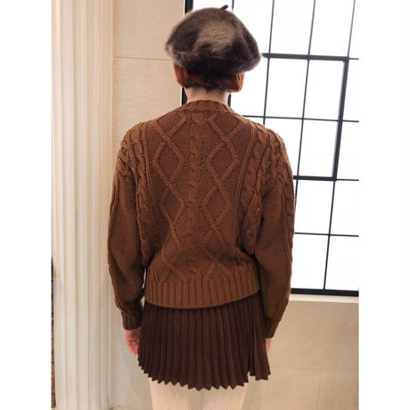 pom pom cable knit cardigan brown