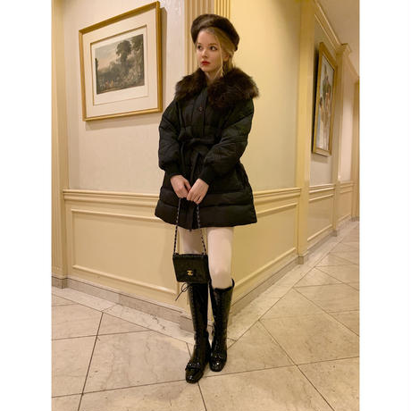 fur collar quilting down coat black