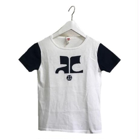 courreges big logo bi color tops