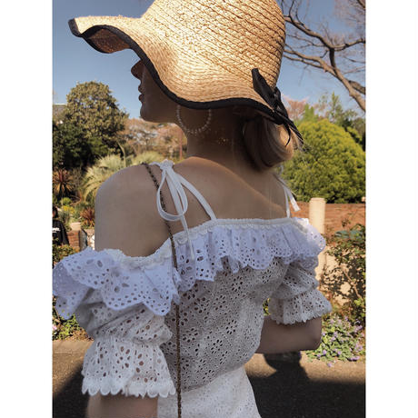 off shoulder frill lace blouse
