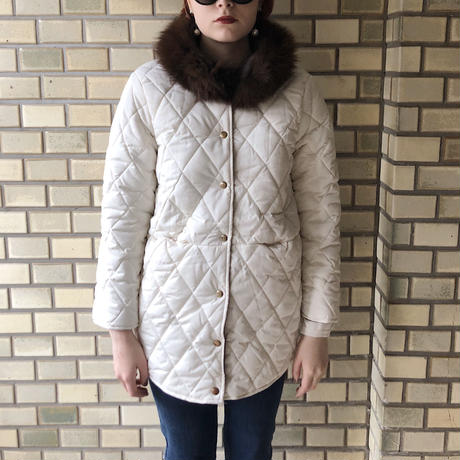 fur quilting down coat white