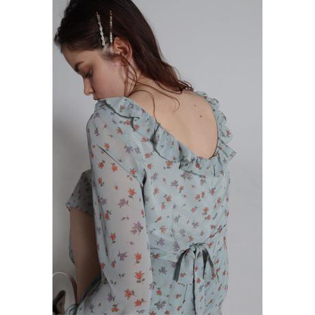slit frill ballerina neck onepiece flower