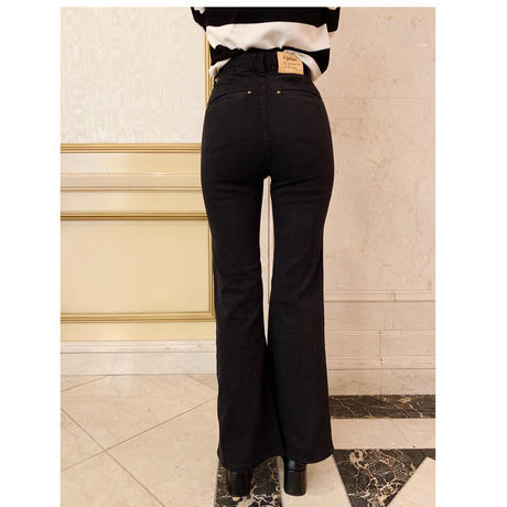 épine high-waist fit bell jeans black