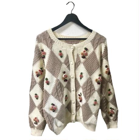 flower design vintage knit cardigan