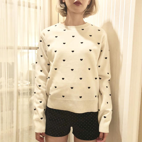 heart embroidery knit off white