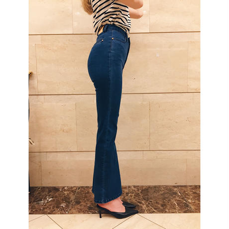 épine high-waist fit bell jeans blue