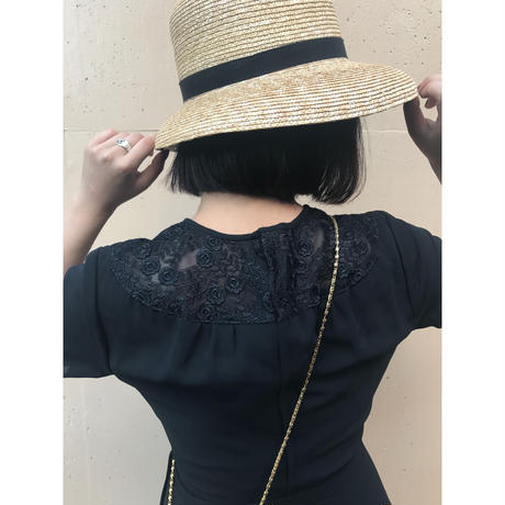 shoulder lace one-piece black