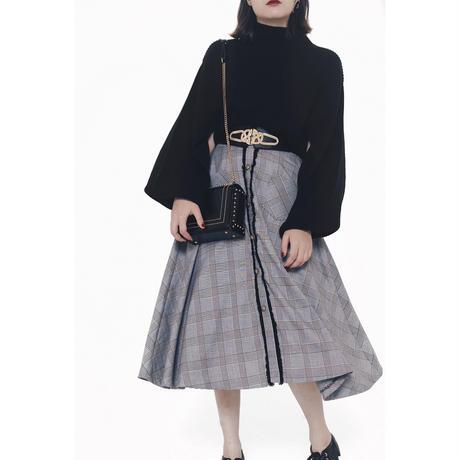 glen check fringe design flare skirt