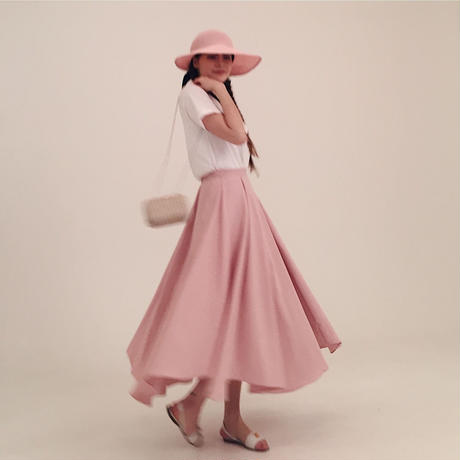 volume design flare skirt pink