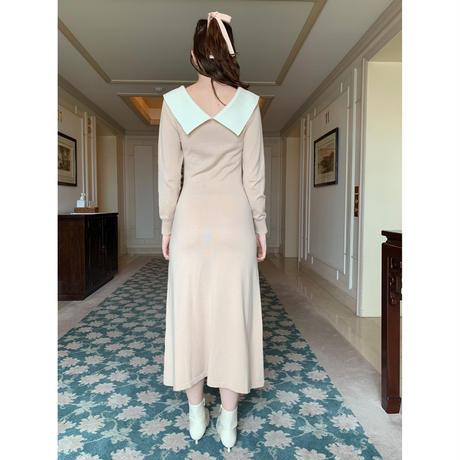 collar design Vneck knit onepiece pink beige