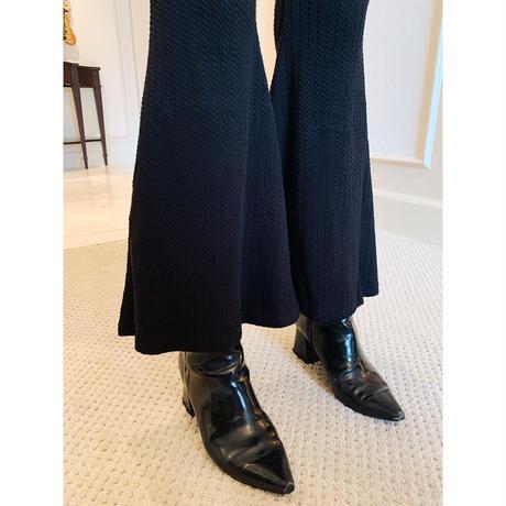 rib knit bell  pants black