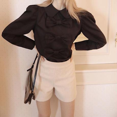big ribbon puff blouse black